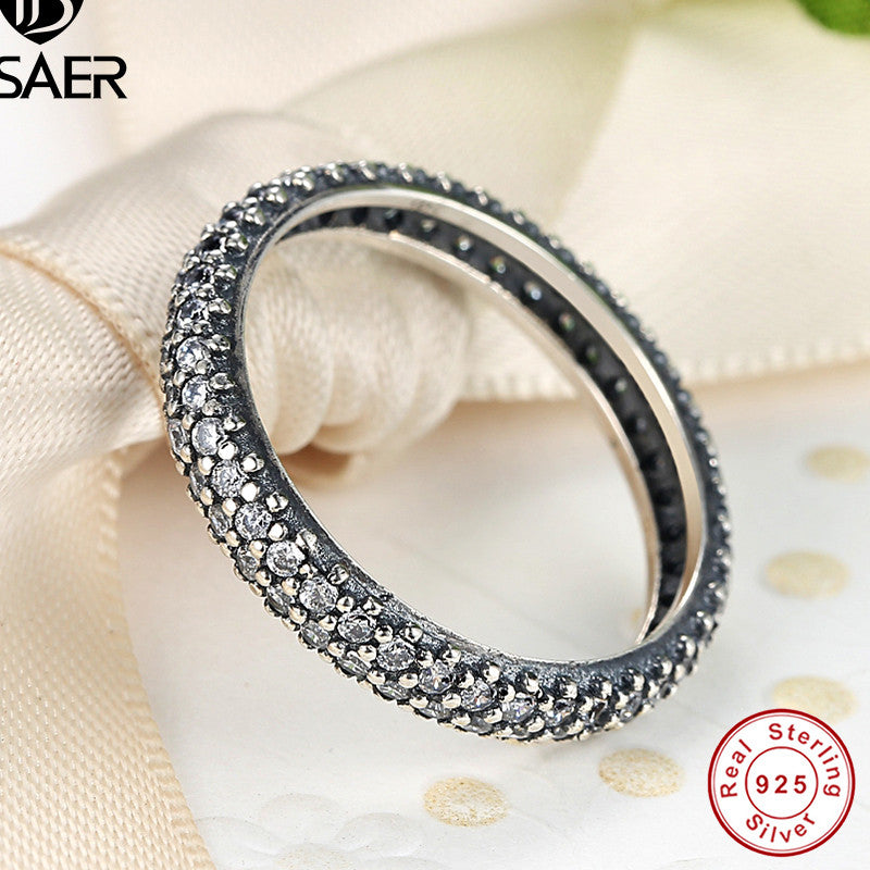199f4fa39da9d 100% 925 Sterling Silver Inspiration Within Stackable Ring Clear CZ ...