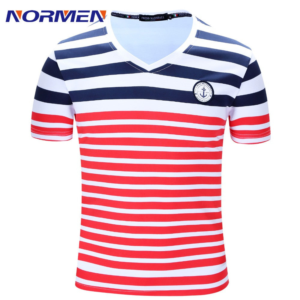250f4537fb58 2016 Camisa Masculina Hot Sale Fashion Brand Striped Cotton T-Shirt Summer  Mens Cotton V-neck Of Size M-2xl Free Shipping