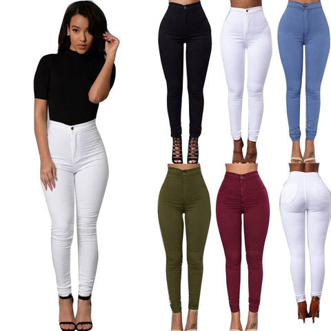 f60c5df11ce4c 2016 Feitong Brand Jeans Women Pencil Pants High Waist Jeans Sexy Slim  Elastic Skinny Pants Trousers