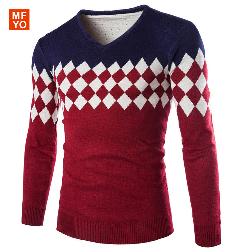 ea210b7e8b9 2016 New brand Sweater men pullover men sweater hombre clothing wool  acrylic winter dress thick shirt v-neck striped long sleeve