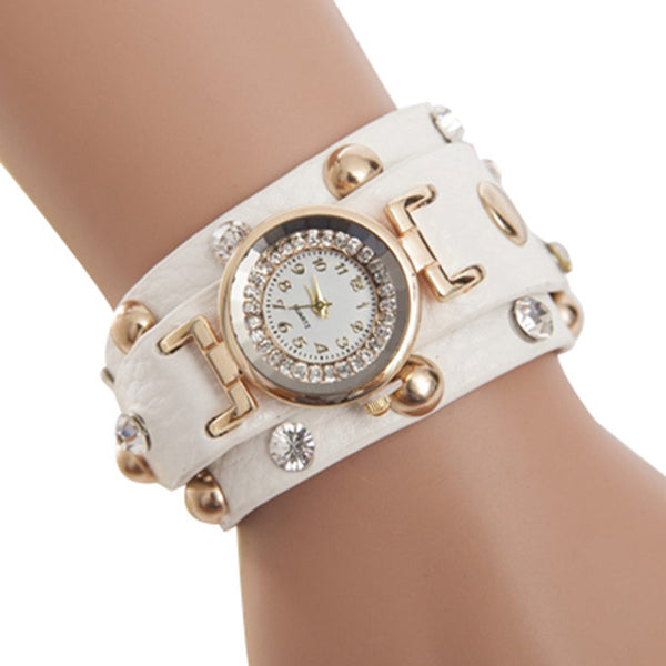 2016 Popular Ladies Rivet Punk Chain Belt Bracelet Watch Hot Retro Crystal Rhinestone Watch Quartz Women Watches Relojes Mujer