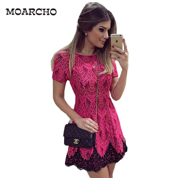 13edb39a68626c 2016 Spring And Autumn Women Dress Short Sleeve O-Neck Pink Lace Dresses  Sexy Party Elegant Straight Bodycon Slim Clothes.