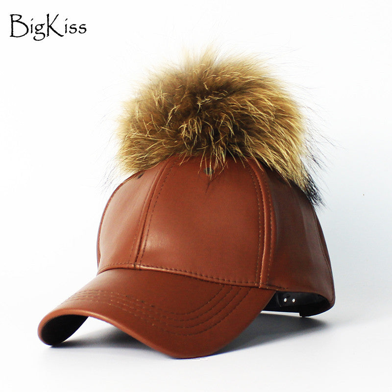 340ebd3460b 2016 Women s Winter Hat PU Leather Pom Pom Cap Leather Hat With Fur Ball  Female Visor ...