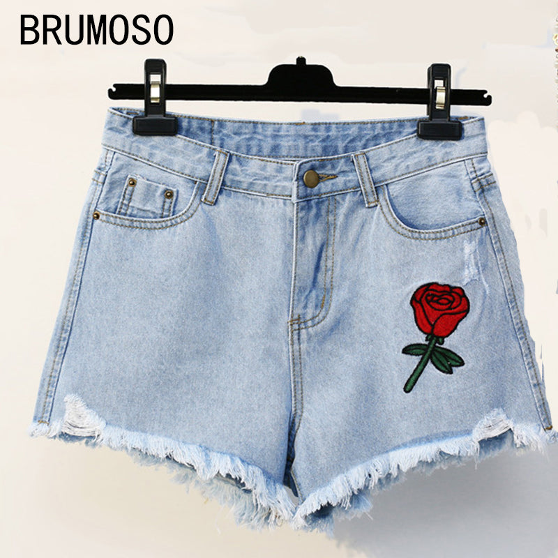 2017 fashion vintage mid waist denim shorts plus