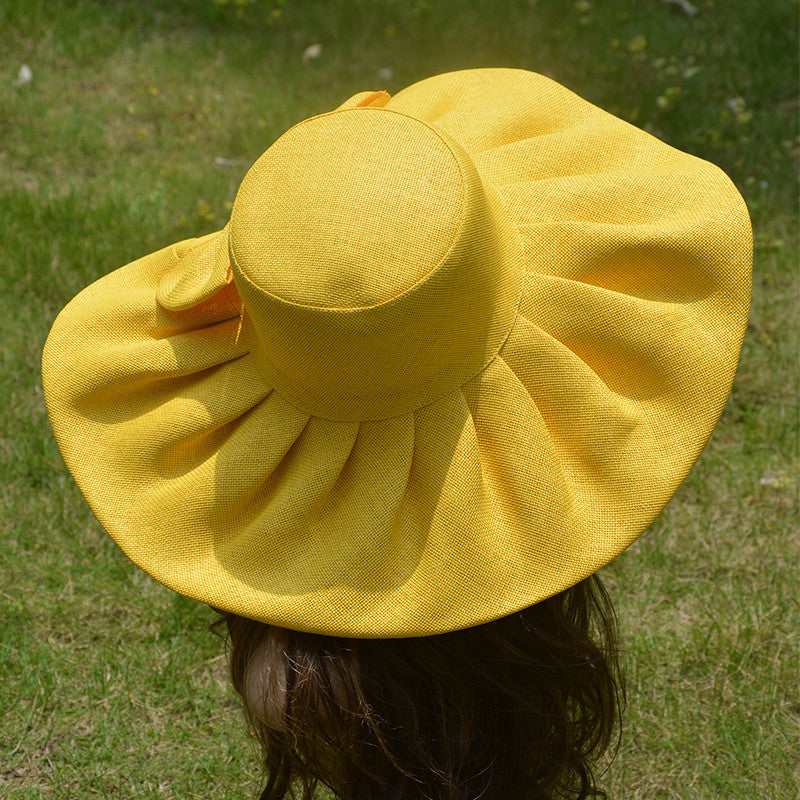 19ba0bbb057 ... 2017 Linen Summer Hat Women Kentucky Derby Wide Brim Sun Hat Wedding  Church Sea Beach Hats ...