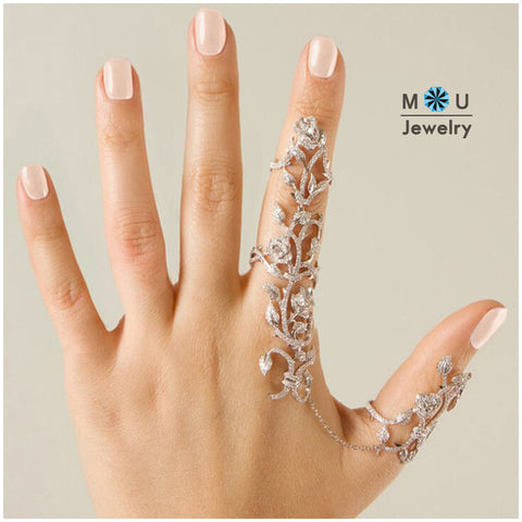2017 New Fashion Women Multiple Rose Crystal Stack Knuckle Band Finger Rings Set Fashion Jewelry RBK017