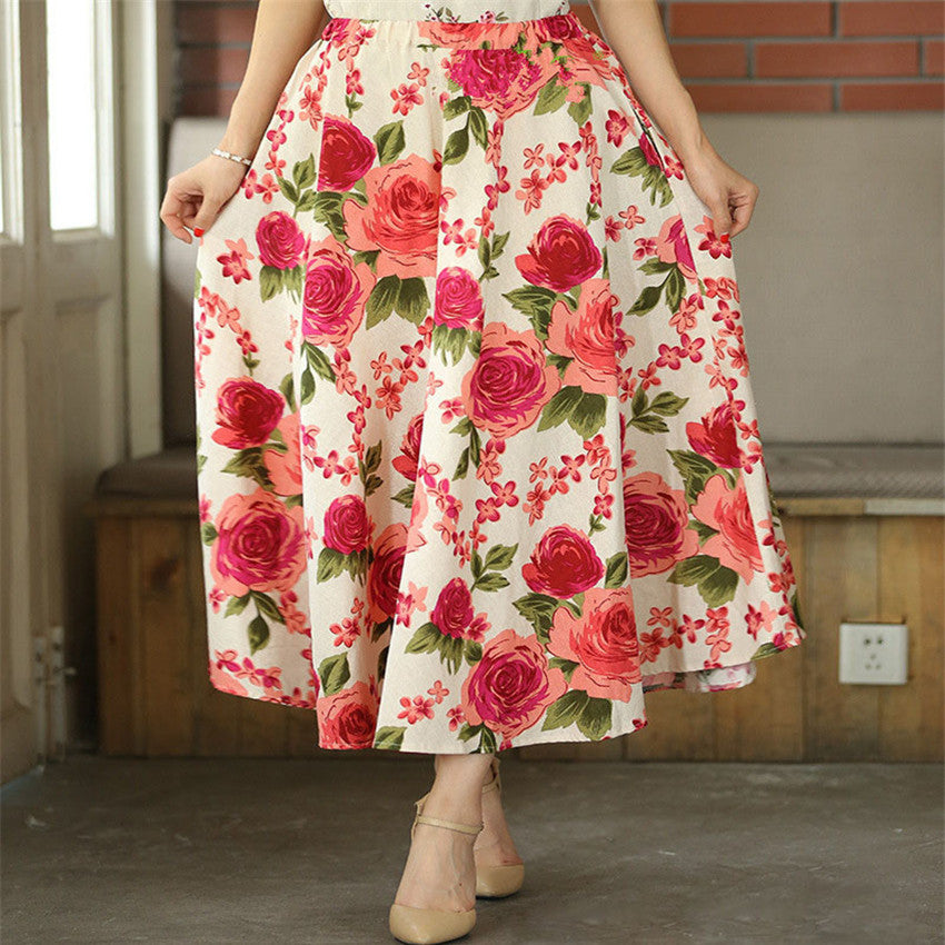 dc118739453e ... 2017 New Fashion printed midi skirt women big swing long skirt ethnic  folk-custom linen ...