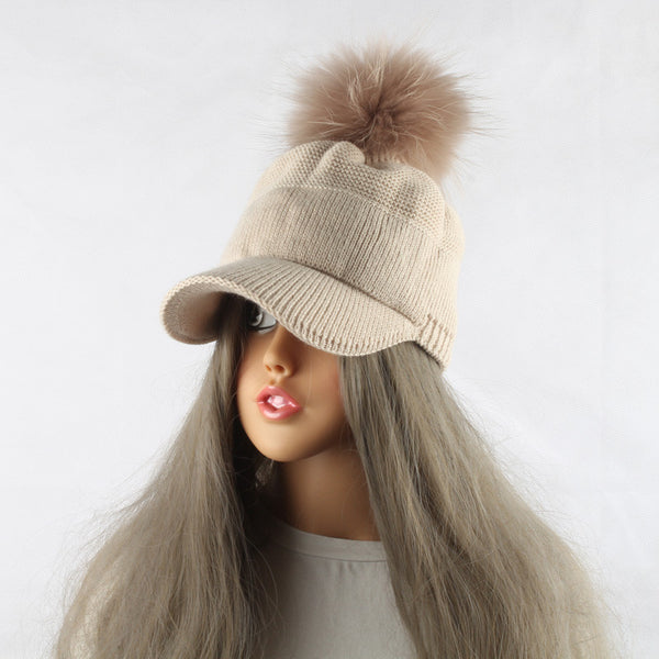 8d6ee443e72 ... 2017 New Real Fur Pom pom Cap For Women Spring Autumn Baseball Cap With Raccoon  Fur ...