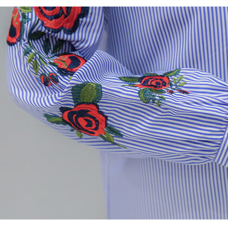 db5342fe36d571 ... 2017 New Spring Women Long Sleeve Blouse Rose Floral Embroidery Work  Shirts Women Office White Tops ...