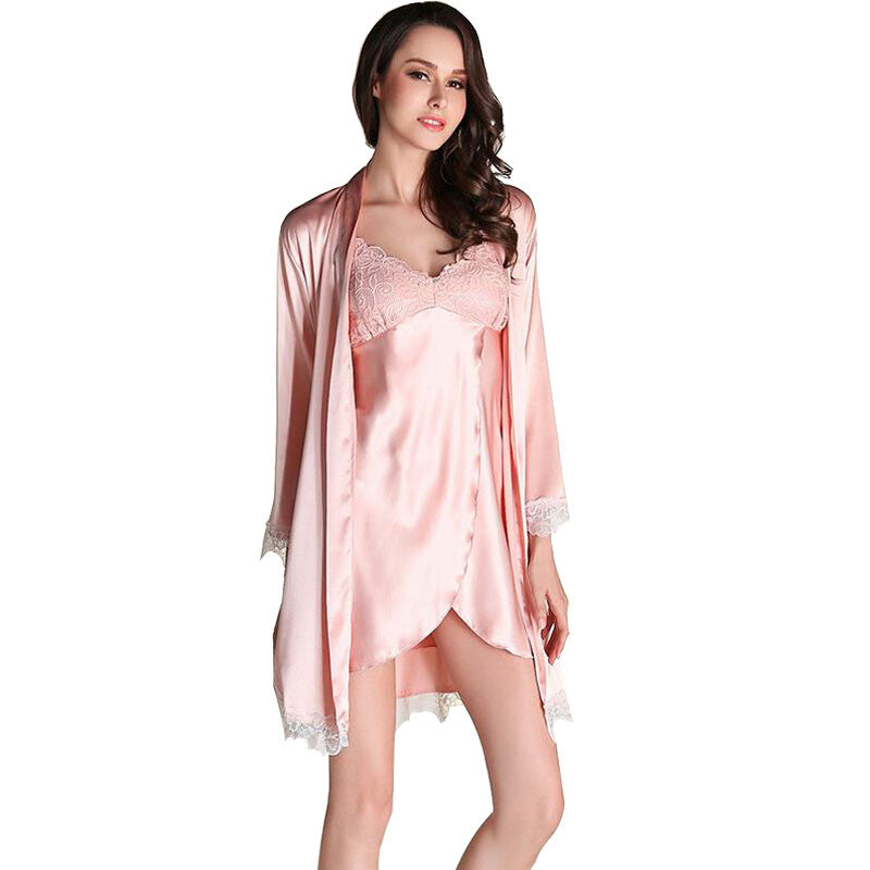 6a7a9f66e ... 2017 Women Robe Sexy Lace Silk Robe Gown Sets Deep V-neck Night Dress  Sleepwear ...