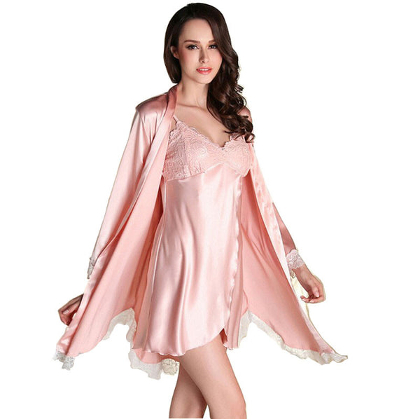 00dd812773 2017 Women Robe Sexy Lace Silk Robe Gown Sets Deep V-neck Night Dress – Raja