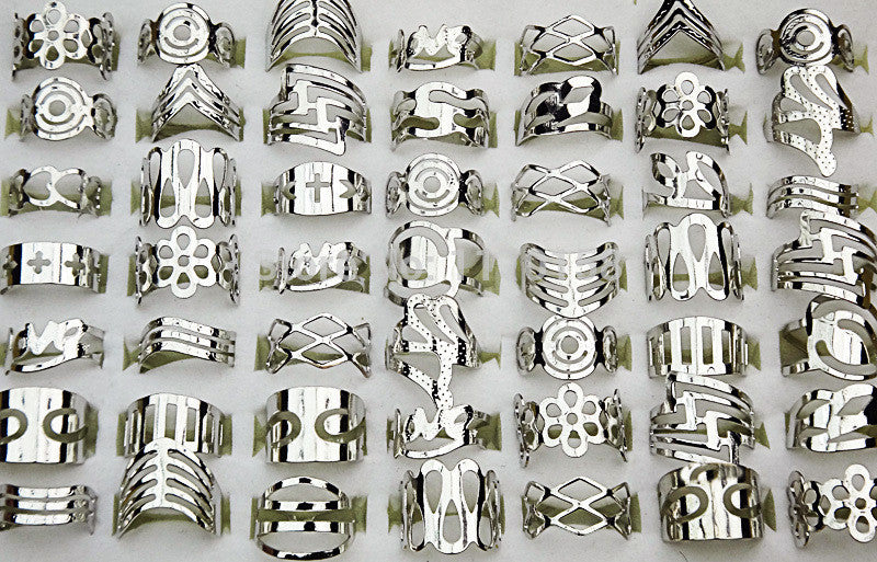 0fd9e23c8 ... 20Pcs Zinc Alloy Vintage Silver Plated Gypsy Adjustable Finger Tattoo  Rings Toe Ring For Women Men ...