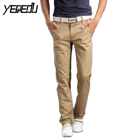 #2805 2017 Spring/Fall Casual pants men Fashion Solid color Slim Cotton Straight Slim Khaki joggers Men trousers Brand clothing - Raja Indonesia