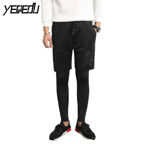 #2808 2017 Skinny joggers Cotton men Fashion tights men Fake two piece leggings trousers Hip hop pants Men clothing Mens joggers - Raja Indonesia