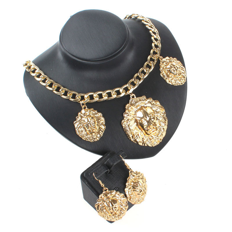 a1c13a7824506d ... 3pcs Lion Head Pendant Chunky Gold/Chain Necklace Statement Jewelry  Fashion Women Accessories Collar Maxi ...