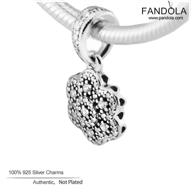 b239d9deb150b 925 Sterling-Silver-Jewelry Crystallised Floral Necklace Pendant Charm  Beads for Jewelry Making Fits Pandora Charms Bracelet