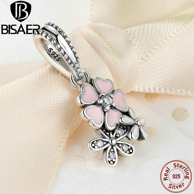 f962b253e034c 925 Sterling Silver Jewelry Poetic Blooms, Mixed Enamels & Clear CZ Pink  Flower Charms Fit Pandora Bracelet Jewelry WEUS281