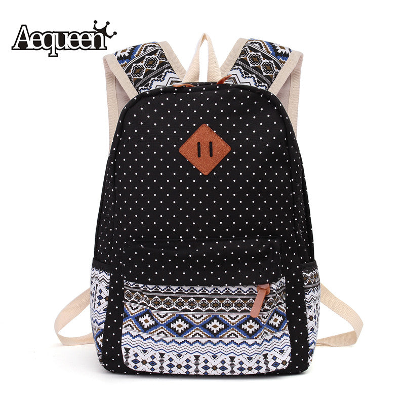 8093ff2957 AEQUEEN 3 PCS Set Women Backpack Canvas Printing School Bags For Teenagers  Girls Laptop Backpacks ...