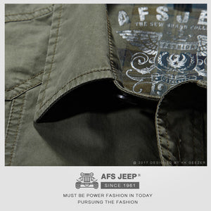 AFS JEEP Cotton Casual Shirts Men New 2017 Short Sleeve Loose Army Military Tooling Pockets Breathable High Quality Dress Shirt - Raja Indonesia