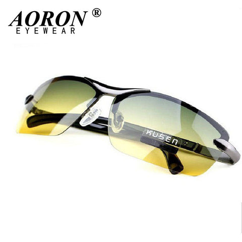 AORON Day & Night Vison Multifunction Men's Polarized Sunglasses Reduce Glare Driving Sun Glass Goggles Eyewear de sol - Raja Indonesia
