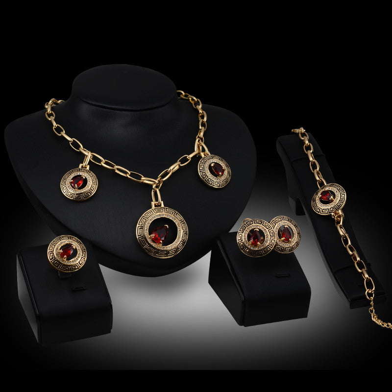 1b9cfb4e967 African Beads Women New Gold Color Red Zircon Austrian Crystal Chain Jewelry  Sets Necklace Wedding Party ...