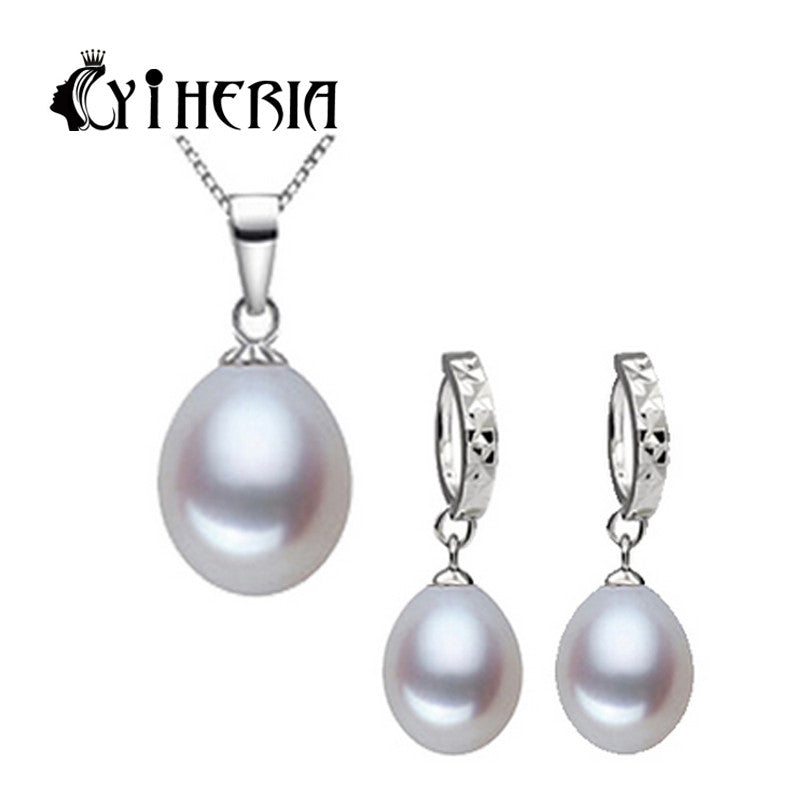 Amazing price 925 sterling silver jewelry 100% real natural freshwater pearl jewelry set for women white / pink / purple pearl
