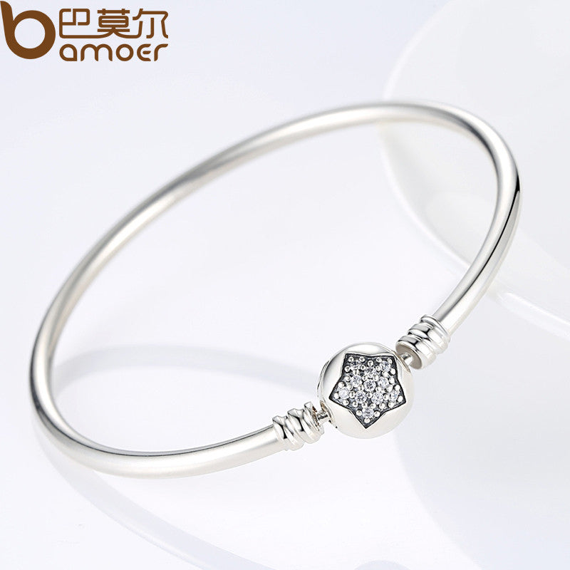 ... BAMOER Authentic 100% 925 Sterling Silver Snake Chain Bracelet   Bangle  Pave Star Cubic Zirconia ... 65955ed174a3