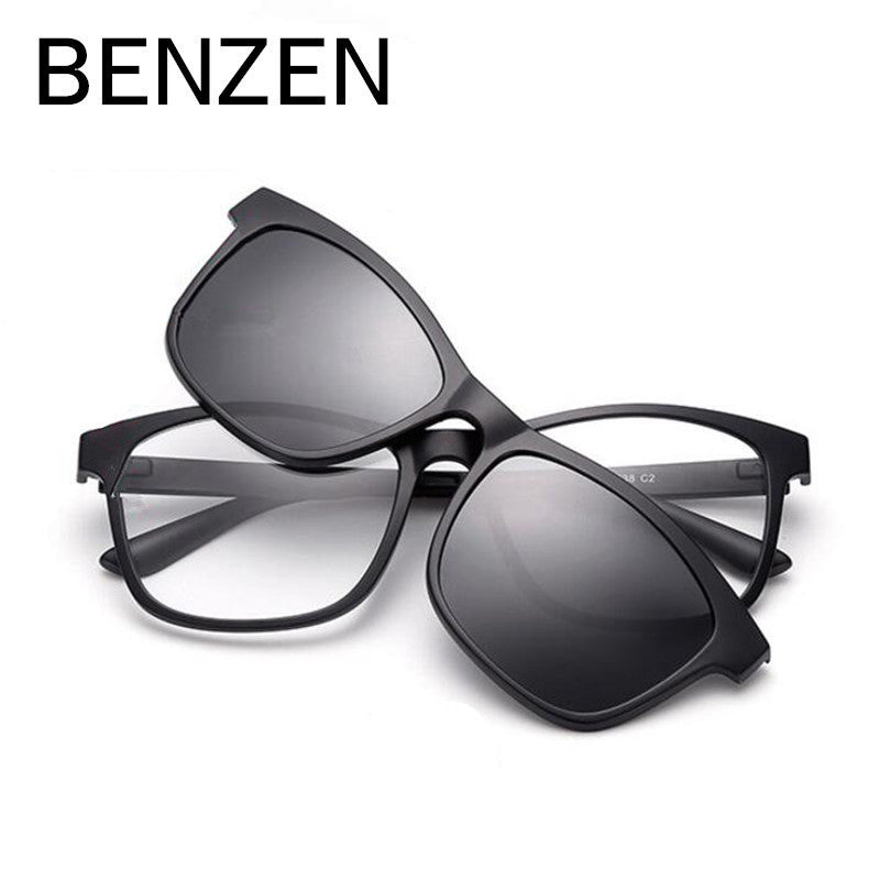 c1713b4bc88ef ... BENZEN Men Polarized Magnetic Clip Glasses TR Male Driving Clip On Sunglasses  Magnet Myopia Glasses Frame ...