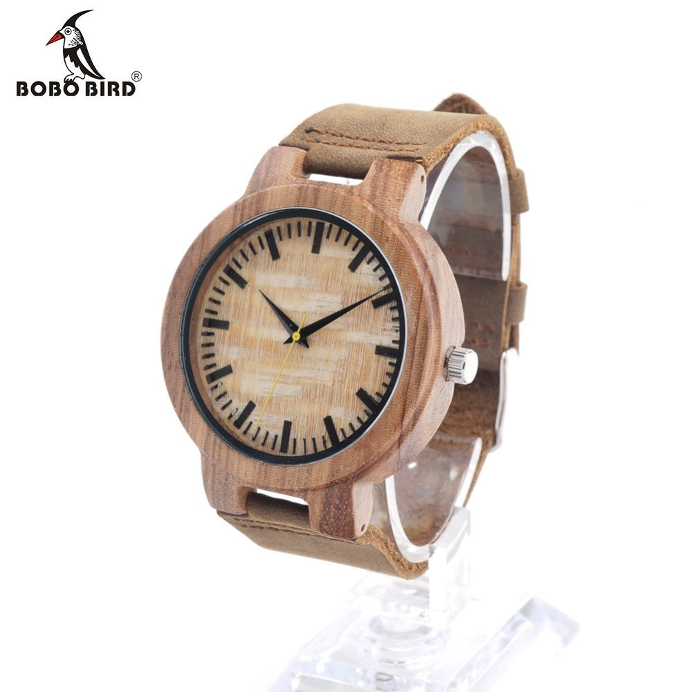 BOBO BIRD C20 New arrival Vintage Round Bamboo Wood Quartz Watches With Real Leather Bands Womens Mens watches top brand luxury