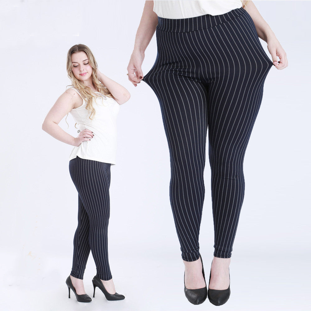 Big Size Fat Female Women Vertical Stripe Faux Jeans Legging Plus Size