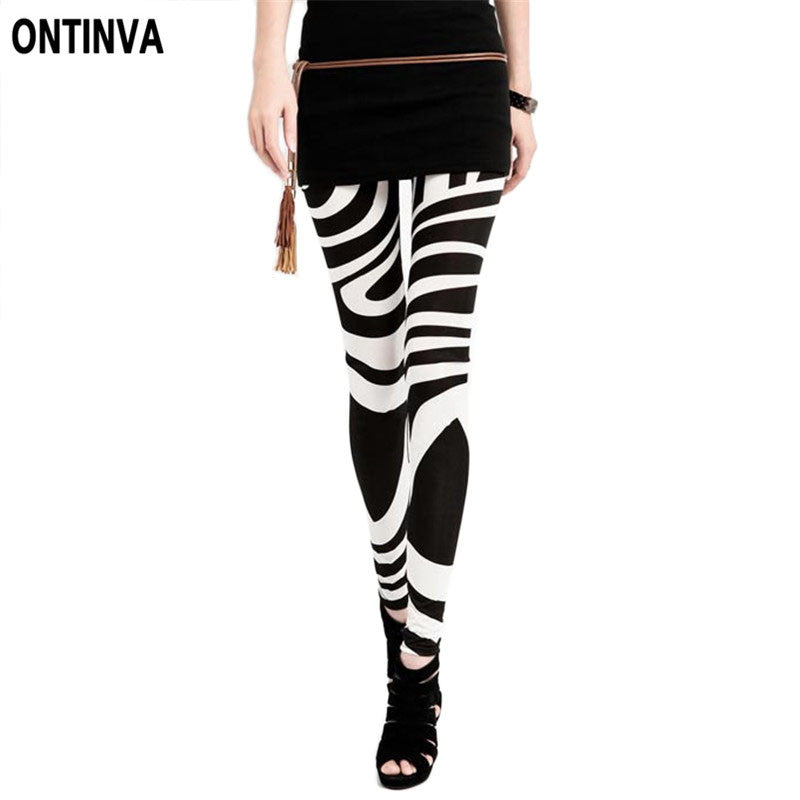 d380dee1f91a Black White Striped Leggings for Women Plus Size XXL Legins New 2017 Slim  Girl Pants Vintage ...