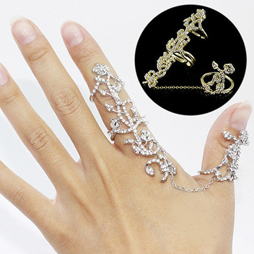 Multiple Finger Stack Knuckle Band Crystal Set Women S Fashion Jewelry