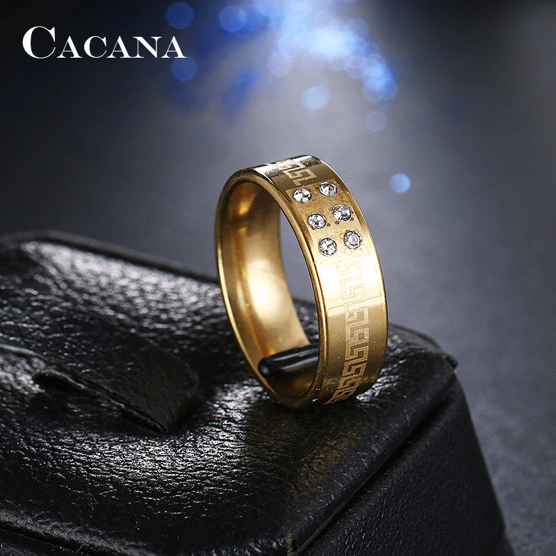 CACANA Stainless Steel Rings For Women 8 CZ On Fashion