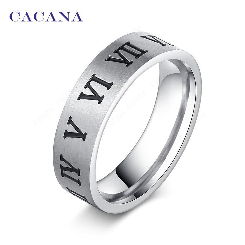 CACANA Stainless Steel Rings For Women Roman Alphabet Fashion Jewelry Wholesale NO.R39