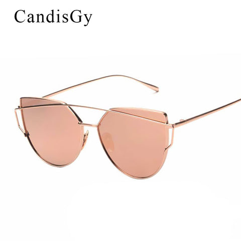 CandisGy Cat eye Women Sunglasses 2016 New Brand Design Mirror Flat Rose Gold Vintage Cateye Fashion sun glasses lady Eyewear - Raja Indonesia