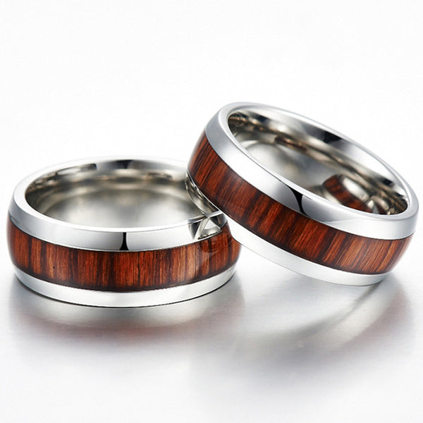 classic style 8mm mens ring stainless steel ring retro dark wood