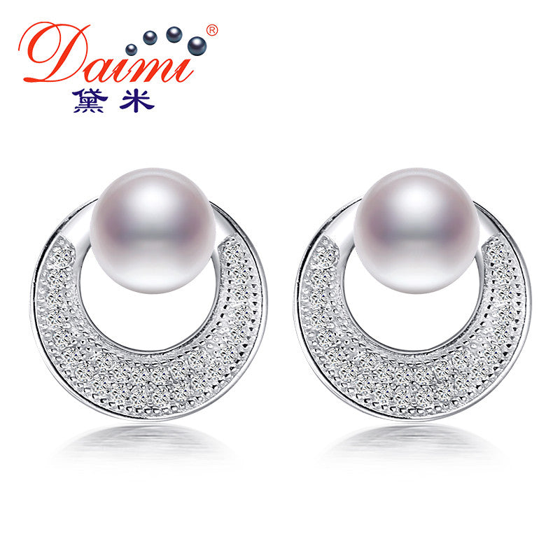 1a1c8328b DAIMI 6-7mm Natural White Pearl Shiny Circle Earrings Freshwater Pearl  Earrings 925 Silver Studs ...