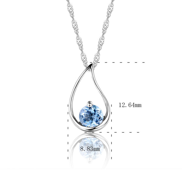 b9c612d44973f3 ... DOUBLE-R New Charms Pendants Natural Blue Topaz Pendant Women Water Drop  Sterling Silver Necklace ...