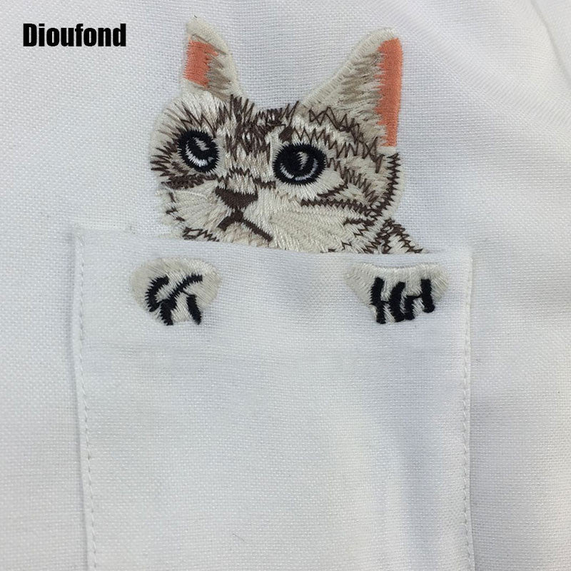cfaf6343d8cb0e ... Dioufond Cat Embroidery Long Sleeve Women Blouses And Shirts White Blue  Female Ladies Casual Shirt Tops ...
