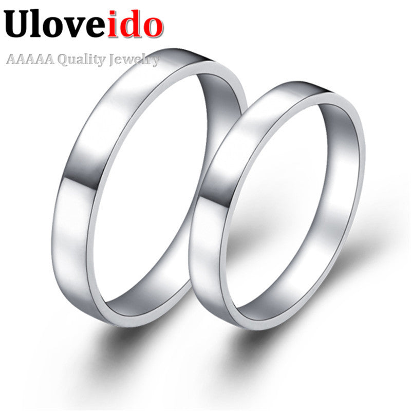 8adb5463c Drop Shipping Sale 2Pcs Promotion Wedding Couple Rings Brincos Silver  Engagement Ring For Lovers Aneis bijoux ...