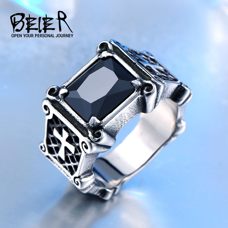 Dropshipping One Piece Vintage Friar Men's Double Cross Ring With  Black/Red/Blue Three Colors Stone Fashion Ring BR8-061 US Size