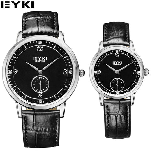 19e35651fed6 EYKI Black Business Couples Watches Vogue Seconds Dial Genuine Leather Belt  Quartz Watch 30 M Waterproof