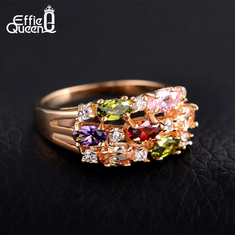 37ac1e41f Effie Queen New Trendy Beautiful Zircon Ring Luxury Rose Gold-color Women  Wedding Engagement Rings Fashion Jewelry DDR01