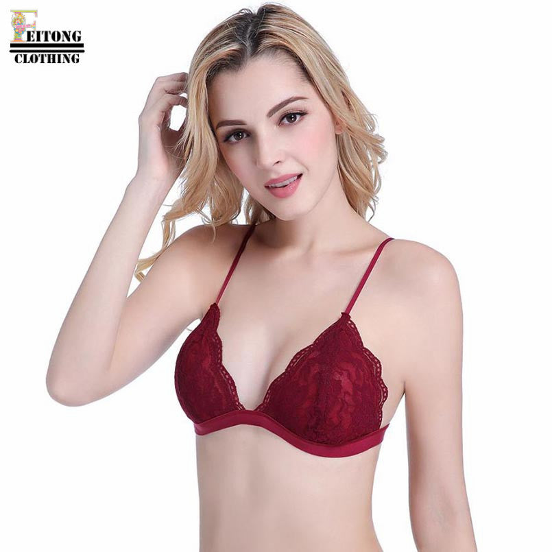 75d8b5cc4100f FEITONG 7 Color Women Floral Sheer Lace Triangle Bralette Bra One Piece  Wireless Unpadded Cute Ladies ...