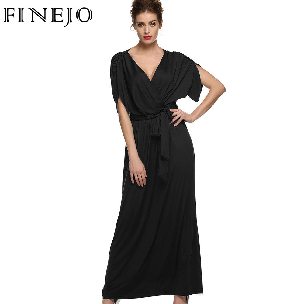 6d1200f27f3 ... FINEJO Sexy Fashion Women Dress Batwing Sleeve Deep V Neck Maxi Long  Dresses Party Evening Full ...