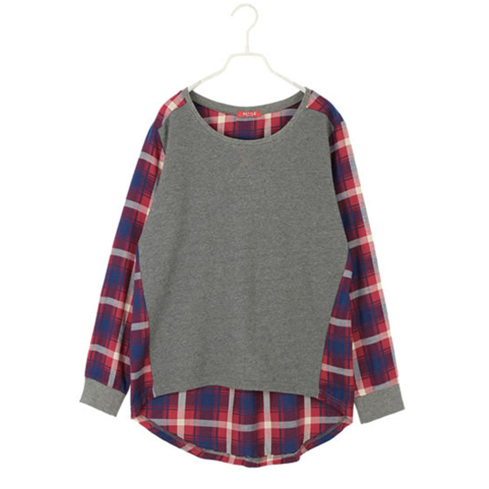 cd2dd5d2d5e3 Fashion Autumn Spring Women Plaid Checked Long Sleeve Crew Neck Blouse  Shirt Ladies Casual Loose Patchwork ...