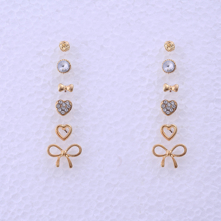 ff77d595497a ... Fashion Bow Heart Small Studs Earrings Set Charms Crystal Round Balls  Piercing Earring Sets For Women ...