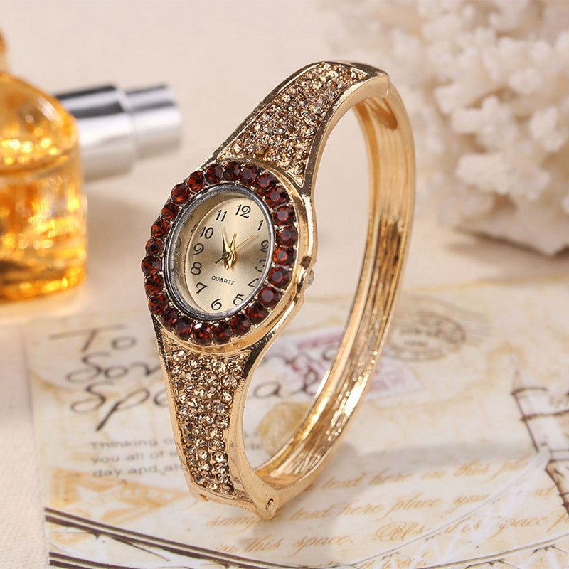 56e6a2634 Fashion Jewelry Watches Women Luxury Diamond Decor Bracelet Watch Ladies  Gold Color Band Dress Quartz Wristwatch ...