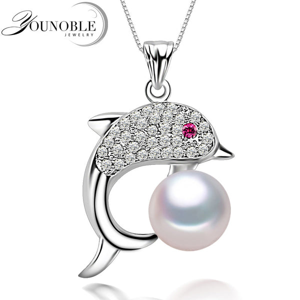 Fashion freshwater pearl dolphin pendant for womengenuine natural fashion freshwater pearl dolphin pendant for womengenuine natural pearl pendant necklace chain 925 silver aloadofball Gallery