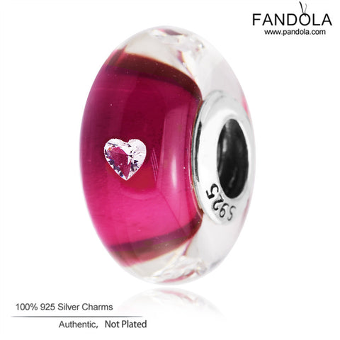 3c194d888 Fits Pandora Bracelets 2017 Valentine's Day 925 Sterling Silver Jewelry  Cerise Heart Glass Beads Murano Charms